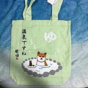 Japan Shibainu Shoulder Tote (it's hot spring)